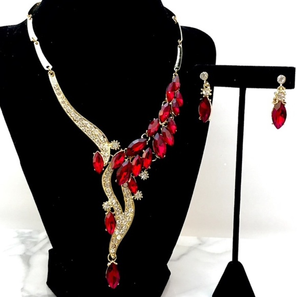 Cherryl's Jewelry - Red Crystal Statement Necklace Set 4 Prom Bridal